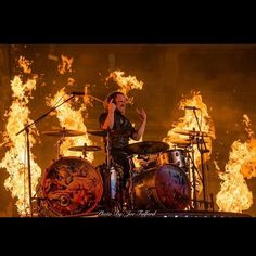 #Repost @bkerchofficial: It's hot up here! Thanks to all the fans. You are loved. #shinedown #blessed #promarksticks #evansdrumheads #meinlcymbals #micdrop. #barrykerch Barry Kerch Brent Smith Eric Bass Shinedown Shinedown Nation Shinedowns Nation Zach Myers