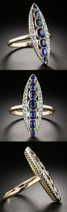 Long Antique Sapphire and Diamond Dinner Ring,This extra-long (just shy of 1 1/4 inch) and extra-lovely Victorian treasure is designed around a radiant row of seven gorgeous royal blue sapphires totaling 2.00 carats. The splendid gemstones are bezel-set and bordered on each side with glistening rose-cut diamonds in an elegantly elongated navette shape dinner ring hand fabricated in platinum over 18K yellow gold.