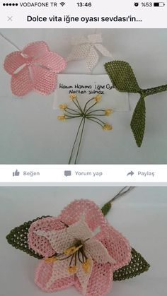 This Pin was discovered by Okt Needle Tatting, Needle Lace, Beaded Flowers, Crochet Flowers, Serger Sewing, Lace Art, Wire Crochet, Brazilian Embroidery, Tatting Patterns