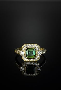 18ct yellow gold green tourmaline and diamond, Art Deco style cluster ring. Made in Chichester, England. 3 Stone Rings, Wide Band Rings, Green Diamond, Diamond Art, Chichester England, 3 Stone Engagement Rings, Gold Feathers, Bespoke Jewellery, Dress Rings
