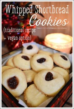 These homemade whipped shortbread cookies are a great way to add a twist to a classic holiday treat, and use only three simple, natural ingredients! Homemade Shortbread, Whipped Shortbread Cookies, Shortbread Recipes, Real Food Recipes, Cookie Recipes, Vegan Recipes, Italian Biscuits, Eggnog Recipe, Roll Cookies