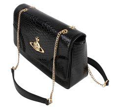 Women's Handbags | Vivienne Westwood Frilly Snake Shoulder Bag - Black | Available at KJ Beckett