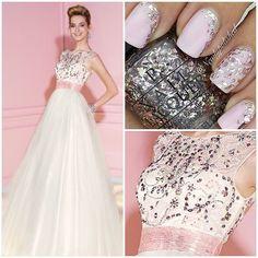 """#blush #white #prom #prom2015 #prom2k15 #promdresses #alyce #alyceprom #alyceparispromdresses #formal #pageant #pageantdress #nails #glitter #sparkle…"""