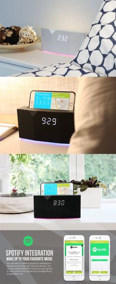 The 'Beddi' is an alarm clock that syncs with your phone's Spotify account to play you the hottest tunes as you wake up, it comes with a clock, dock, and a mood lamp... READ MORE at Yanko Design !