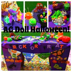 "AG American Girl 18"" doll Halloween Crafts-Mini AG doll trick or treat table and goodies-mini Hershey chocolate bars and Hershey's kisses, mini bat drinks, sparkly spider and more! #hersheys #trickortreat #halloween #agdoll #18""doll #americangirldoll #agdollhalloween #hersheykiss #mini #dolls"