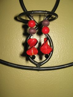 Bohemian inspired red leaf glass wooden beaded by Moonshinez, $10.00
