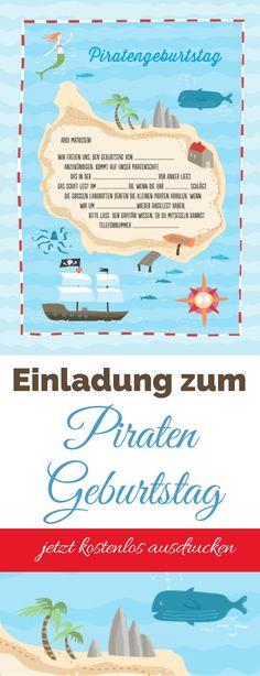 """Piratenparty Einladung - kostenloser Download zum selbst ausdrucken. Aus meinem Buch """"Die Spieletrickkiste"""" - jetzt für euch auf meinem Blog umsonst erhältlich. Ich hoffe, ich mache euch und eurem Geburtstagskind eine Freude damit! Eure Svenja"""