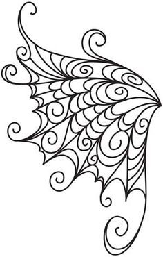 Embroidery Designs at Urban Threads - Delicate Wings. Easily done with royal icing. Embroidery Designs, Quilting Designs, Hand Embroidery, Machine Embroidery, Embroidery Stitches, Colouring Pages, Coloring Books, Stencils, Stencil Templates