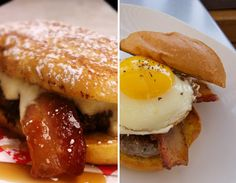 on the left: french toast burger w/ lemon-cream-cheese, bacon, and caramel-maple sauce at the Pink Tank food truck in Denver