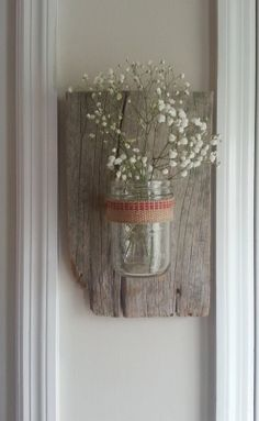 rustic mason jar vase by whitepinecrafters on Etsy, $24.00