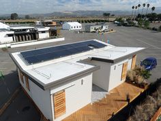PV arrays for University of California, Davis, at the U.S. Department of Energy Solar Decathlon 2015 at the Orange County Great Park, Irvine, California  (Credit: Thomas Kelsey/U.S. Department of Energy Solar Decathlon)