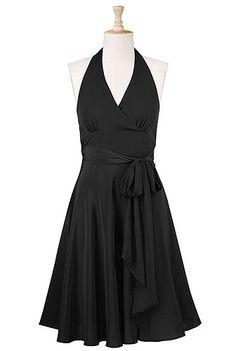 Shirred waist ties halter dress
