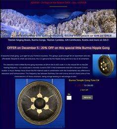 ADVENT - 24 Days of the Season SALES at Heaven of Sound - Dec. 5: 20% OFF this beautiful little Burma Gong with fundamental tone G