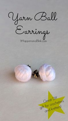 Check out these Yarn Ball Earrings It Happens in a Blink made! A perfect gift for knitters or crocheters.