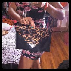 NWOT leopard material girl purse Cute little going out purse by material girl. New, got for Xmas and never used. Material Girl Bags