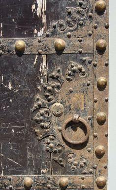 Antique Chinese Iron Clad Wood Door