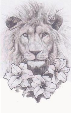 Lion And Lily Tattoo - Tattoospedia Leo Tattoos, Future Tattoos, Body Art Tattoos, Girl Tattoos, Tattos, Fashion Tattoos, Tattoos For Women On Thigh, Tattoos For Women Half Sleeve, Half Sleeve Women
