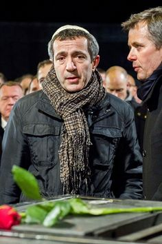Danish Crown Prince Frederik (R) and Chairman of The Jewish Community, Dan Rosenberg Asmussen attend a memorial service for the shooting victims near Krudtoenden where the first shooting took place, in Copenhagen, Denmark, on 16.02.2015.