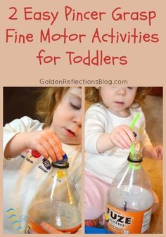 2 easy pincer grasp fine motor activities for toddlers, with items you have around the house!