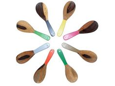 "Jacaranda Small Colorblocked Spoons from Lydali  • $16  I'm obsessed with spoons and little serving cups these days, with my pudding book coming out. I'm so drawn to all the poppy neons and juicy colors in tableware right now, like these colorful spoons. They are hand carved from jacaranda and kiatt wood in South Africa. Measures 10.25"" long by 3.2"" at its widest. All kinds of pretty colors, from olive green to pink and orange."