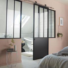 5701522d075 Porte coulissante en acier vitrée Industrial noir 83 cm