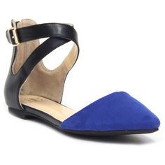 DOOBALLO Brittney Pointed Toe Ankle Strap Flat (25 AUD) ❤ liked on Polyvore featuring shoes, flats, cobalt blue, pointy-toe flats, cobalt blue shoes, pointed-toe ankle-strap flats, ankle tie flats and pointy toe shoes