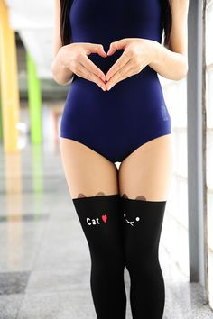 Printing opaque colors on sheer nylons could create some adorable effects. Japanese Harajuku, Black Stockings, Swimsuits, Swimwear, Leotards, Female Bodies, Asian Girl, Ideias Fashion, Sexy Women