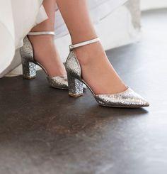 Silver Glitter Stiletto Sandal Shoes of Prey kZHIIOi6f