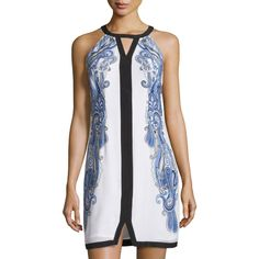 Laundry by Shelli Segal Scarf-Print Keyhole Sleeveless Dress ($89) ❤ liked on Polyvore featuring dresses, dazzling b, laundry by shelli segal dresses, sleeveless shift dress, straight dress, shift dress and laundry by shelli segal
