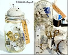 DIY anthropologie mason jar sewing kit