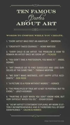 Ten famous quotes about art to inspire you on your creative path. Ten famous quotes about art to inspire you on your creative path. Great Quotes, Quotes To Live By, Inspirational Quotes, Motivational, Inspire Quotes, Awesome Quotes, Artist And Craftsman Supply, Citation Art, Classe D'art