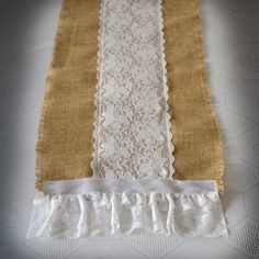 """Burlap and Lace Table Runner 12""""x72"""" (Custom sizes also available). $35.00, via Etsy."""