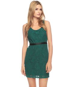 $27.80-Forever 21 Sleeveless Lace Dress in Emerald... I love green for fall/winter