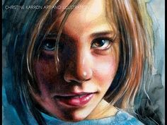 Watercolor Colored Pencils Portrait SPEED PAINTING by Ch. Karron - YouTube