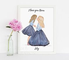 Mother and daughter fashion illustration, hand sketched watercolor print, gift for mom, mum, stepmom, daughter, Parent, carer