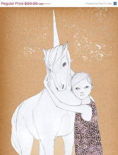 HOLIDAY SALE Girl and UnicornDeluxe Edition Print by IrenaSophia, $15.00
