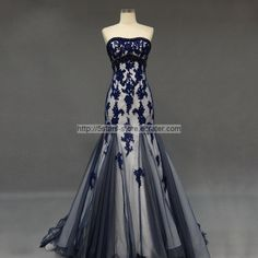 Mermaid Formal Gown Strapless Navy Blue Beading Long Party Prom Dress MM302