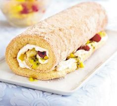 [153 cal per serving] - Mango & passion fruit roulade