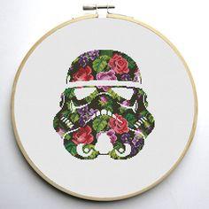 Star Wars Cross Stitch PDF pattern Floral Stormtrooper Helmet