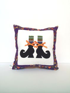 Quilted Halloween Pillow witches feet pillow by TheQuiltedPillow, $23.00
