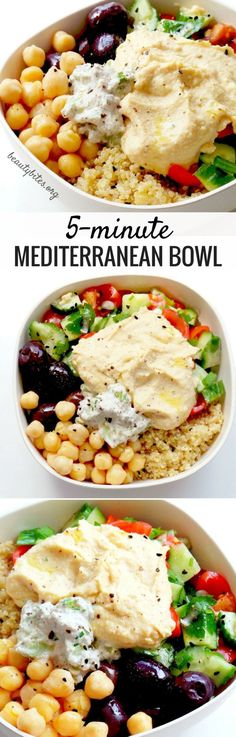 5-Minute Mediterranean Bowl - My Favorite Lunch Recipe! Try this healthy lunch recipe, it's also great to meal prep. You prepare everything and keep all parts in separate containers in the fridge (up to 3 days, except salad - but it takes only 2 minutes). Then arranging this beautiful & easy healthy bowl with quinoa & hummus takes around 5-minutes! It's vegan & gluten-free!Try it! www.beautybites.org/5-minute-mediterranean-bowl | healthy meal prep recipe | healthy salad recipe…