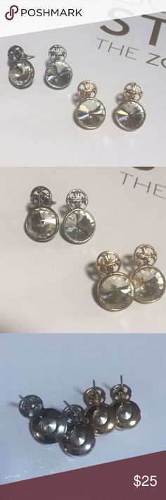 Two pairs cute cross pierced earrings vintage Two pairs cute cross pierced earrings vintage one gold plated and one silver plated, dime size stone Vintage Jewelry Earrings