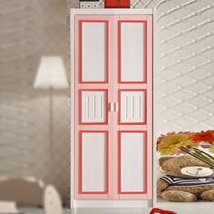 Двухдверный узкий детский шкаф с красным обрамлением купить в интернет-магазине https://lafred.ru/catalog/catalog/detail/41944831575/