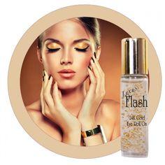 Gold Eye Roll On - Flash Cosmetics Serum, Beauty Flash, Eye Roll, Gold Eyes, Perfume Bottles, Rolls, Cosmetics, Tired Eyes, Beauty Products