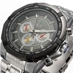 Fashion Xmas Christmas Stainless Steel Black Dial Men Sports Quartz Wrist Watch