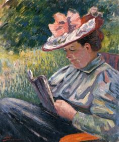 Armand Guillaumin (French, 1841-1927) - Madame Guillamuin Reading in the Garden, 1895