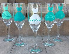 Personalized Champagne Glasses Champagne Flutes by WeddingsByLeann