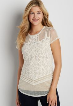 lacy tee with dot embroidered mesh (original price, $32.00) available at #Maurices