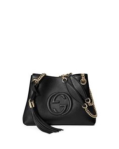 Soho+Small+Leather+Tote+Bag+w/+Chain+Straps,+Black+by+Gucci+at+Neiman+Marcus.