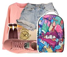 """It be hard to watch the cash when the bands keep droppin..."" by shilohluvsu ❤ liked on Polyvore featuring Burt's Bees, Rolex, Levi's and Sprayground"